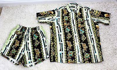 Vintage 50's Men's TROPICANA Hawaii Rockabilly Swim Trunks Shorts & Shirt  M/L