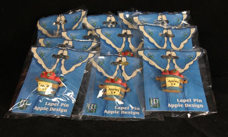 Twelve (12) Basket Of Apples Teacher Lapel Pins