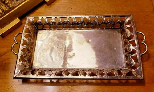 VINTAGE ORNATE MEXICO MARKED STERLING SOLID SILVER DRESSER TRAY 135 grams 925