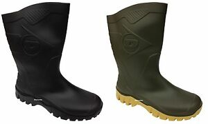 New-Mens-Womens-Dunlop-Black-Green-Short-Half-Length-Ankle-Welly-Boots-Wide-Calf