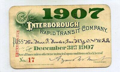 1907 Interborough rapid transit company pass
