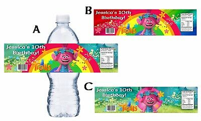 PRINCESS POPPY TROLLS CUSTOM BIRTHDAY PARTY FAVORS WATER BOTTLE LABELS WRAPPERS