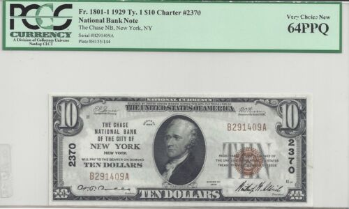$10.00 1929 Series Type 1 Chase NB New York Charter #2370 PCGS Graded 64PPQ