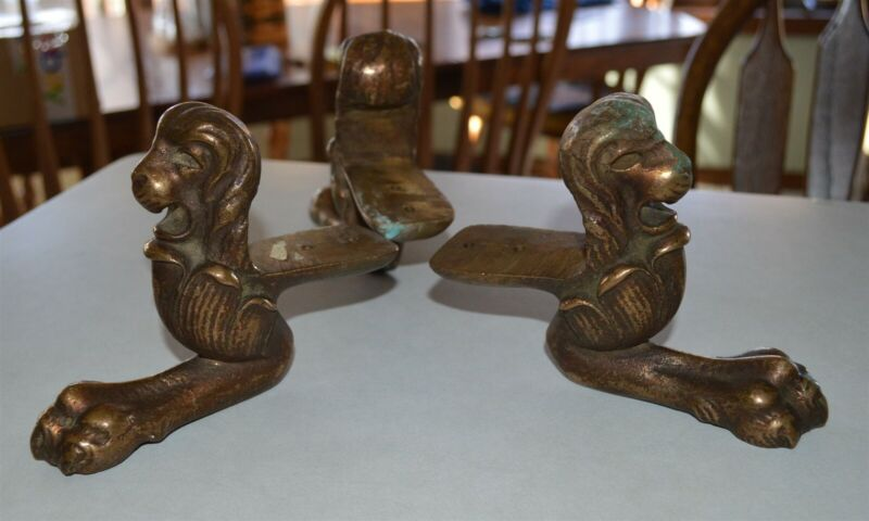 3 Vintage Heavy Solid Cast Brass Ornate Lion Head & Paw Feet 3 pounds each!