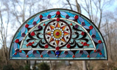 """34""""L x 18""""H Half Round Handcrafted stained glass window Jeweled Glass panel"""