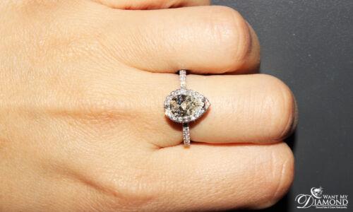 1.90 Carat Pear Shaped Halo Design Diamond Engagement Ring 18k White Gold GIA... 7