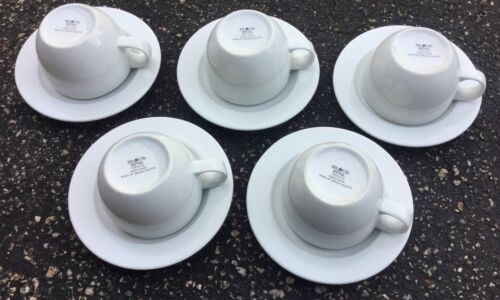 BLOCK SPAL PORTO WHITE CUP & SAUCER SET of 5 BY GERALD GULLOTA Made in Portugal