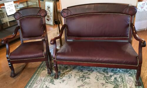 Antique Mahogany Wood Parlor Set W/ Claw Feet - 3 chairs, rocker, loveseat