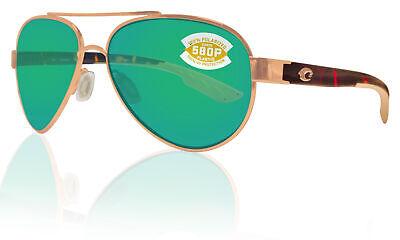 Costa Del Mar Loreto Rose Gold Tortoise Green Mirror 580P Plastic Polarized (Rose Lenses)