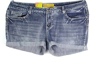 NWT Rustic Denim Blue Womens Size 26 Shorts Denim Embroidery Distressed Cuffed