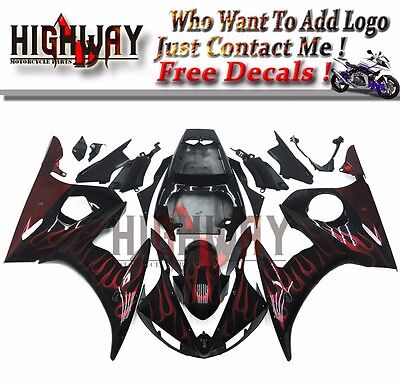 Motorcycle ABS Fairings Body Work Kits Set fit Yamaha YZF600 R6 05 black Painted