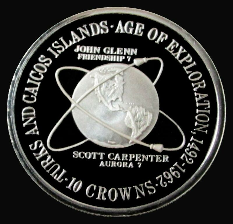 1975 SILVER PROOF TURKS & CAICOS ISLANDS 10 CROWNS AGE OF EXPLORATION