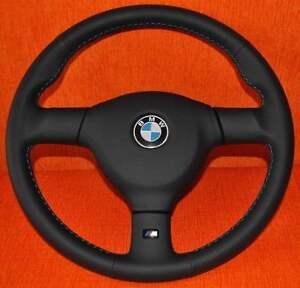 Lederlenkrad Lenkrad passend für BMW E30 E32 E34 E36 + Signalknopf Leder Teile