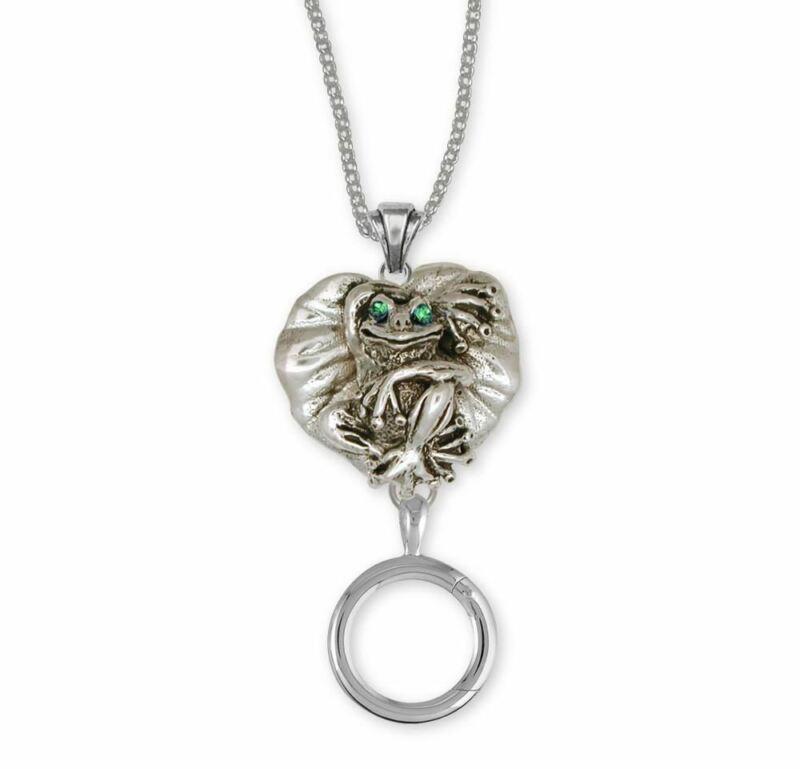 Frog Charm Holder Jewelry Sterling Silver Handmade Frog Charm Holder FG4-XCHD