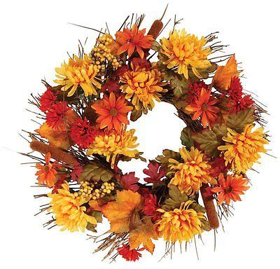 """18"""" Fall Mum Wreath by OakRidgeTM Outdoor, Orange"""