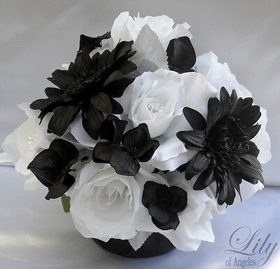 4 Centerpiece Wedding Table Decoration Center Piece Flower Vase Silk BLACK WHITE - Black And White Table Decorations Centerpieces