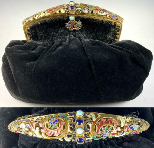 Antique French Napoleon III era Champleve Enamel Jeweled Frame Velvet Purse, Bag