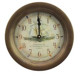 10.5Dia Antiqued Brass Ralph Pain Nautical Wall Clock - Quartz Indoor/Outdoor