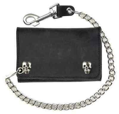 Genuine Leather Men's XL Tri-Fold Biker Chain Wallet w/ Skull Snaps, Black SK325