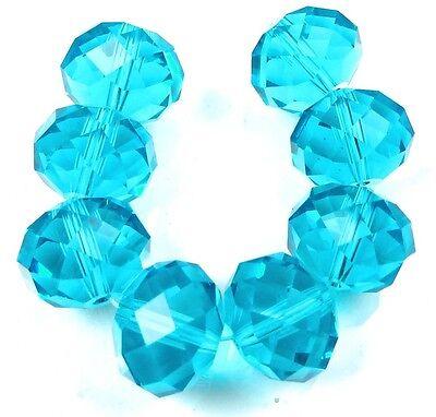 18x14mm Large Aqua Blue Glass Quartz Faceted Rondelle Beads (8)