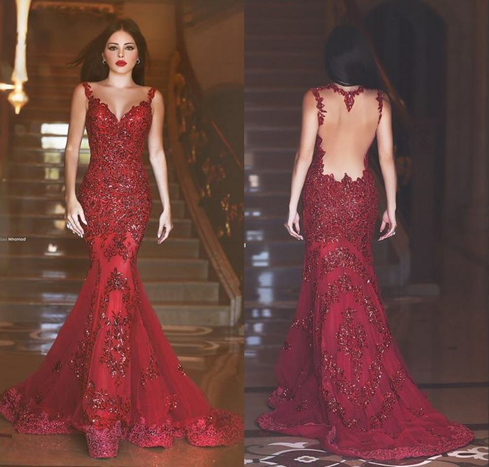 New Dark Red Mermaid Evening Dresses Tulle Sequins Beaded Prom Party ...