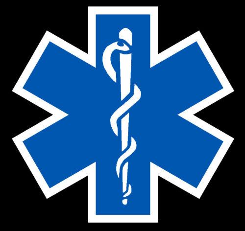 Blue Reflective Vinyl Star Of Life Car or Fire Helmet Decal EMS EMT 2 inch