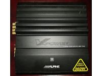 CAR AMPLIFIER ALPINE MRP-F242 4 CHANNEL STEREO AMP TO RUN THE SUBWOOFER OR DOOR SPEAKERS AMP