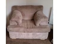 Large snuggle arm chair in mink cord £290 ono - REDUCED £250