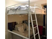 White double loft-bed (IKEA Tromso), ideal for saving space!