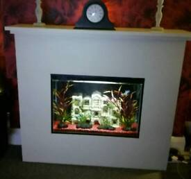 FEATURE FIREPLACE AQUARIUM / FISH TANK. FREESTANDING UNIT. UNIQUE.