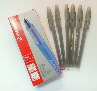 10 Pcs Stabilo Liner 808 F Ballpoint Pen Black