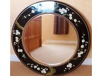 Chinese black lacquer round floral mirror
