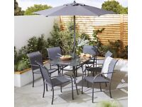 *NEW still in box*Tesco Valencia Metal 8-Piece Garden Dining Table & 6 Chairs Set with Parasol