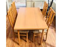 Extending Wooden Dining Table with 4 chairs