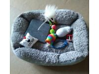 Cat bed and toys