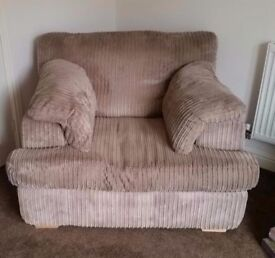 Large snuggle arm chair in mink cord £290 ONO