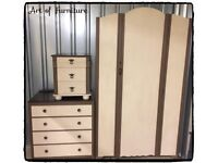 French Vintage Old Style Look Set Wardrobe Chest of Drawers Bedside Table Hand Painted Chalk Paint