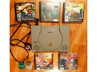 Retro Gaming Vintage PS1 Console Bundle with 2 memory cards & 5 games