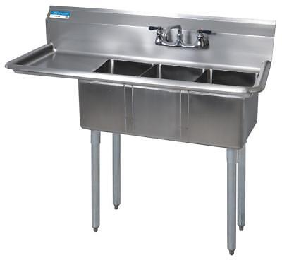 Bk Resources Bks-3-1014-10-15l Commercial Stainless Steel 3-compartment Sink Ldb