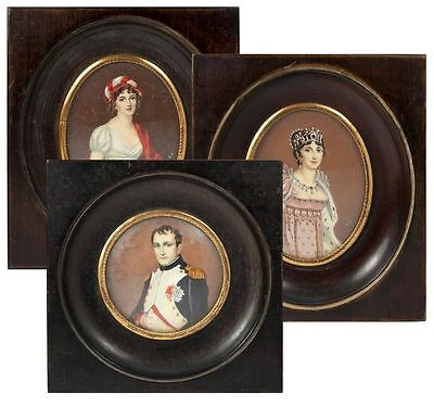 Antique French Portrait Miniature SET: Napoleon, Josephine & Louise, 3 Paintings for sale  Shipping to Canada