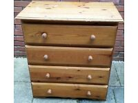 solid pine wood chest 4 drawers. needs cosmetic tlc, but otherwise structurally in good condition