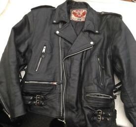 Akaso genuine biker leather jacket tassel size 44