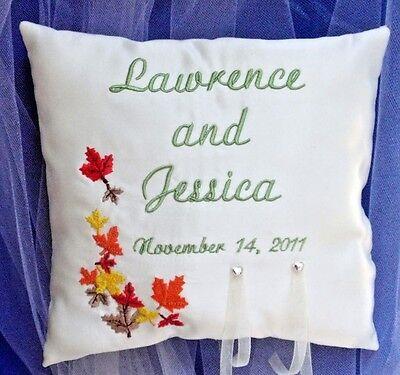 Fall LEAVES Wedding Ring Bearer PILLOW  8