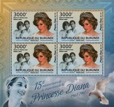 DIANA PRINCESS OF WALES (Prince William & Charles) Stamp Sheet (2012 Burundi)