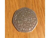 Rare 2011 WWF 50 pence coin.
