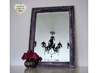 Hand Painted Black and Pink Bevelled Wall Mirror Ornate Decorative Shabby Chic