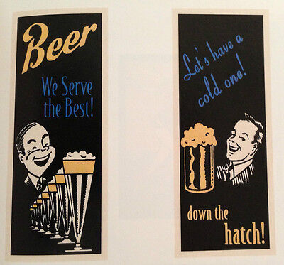 2 BAR ART PRINT SET Beer We Serve The Best Let's Have a Cold One 20x8