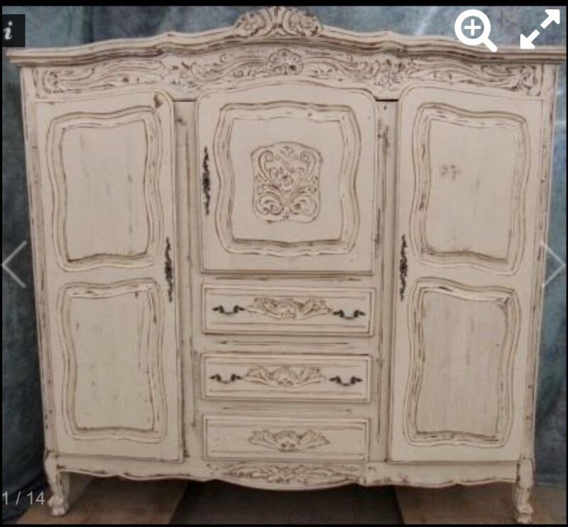 Shabby Chic French Provincial Antique Styled Armoire Double Wardrobe & Dresser.