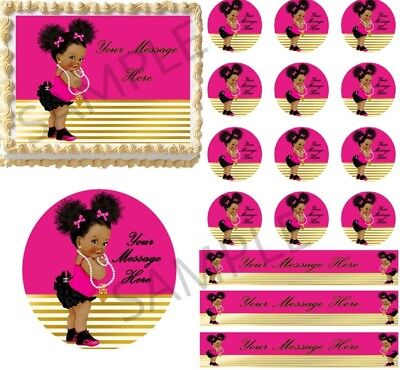 Pink And Black Baby Shower (Black Hot Pink Afro Puff Baby Sneakers EDIBLE Cake Topper Image Baby Shower)