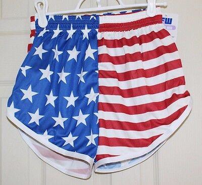 American FLAG USA Running Shorts USA MADE Stars and (Womens American Flag Running Shorts)